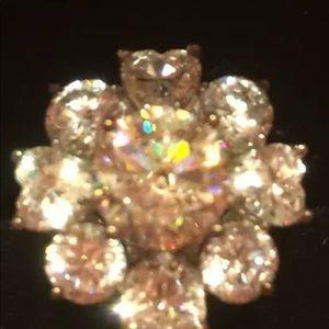 Jewelry - Strontium Titanate w/CZ Heart & Round Silver Ring